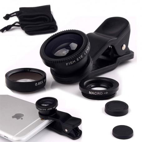 3-in-1 Fish Eye Lens / Wide Lens Universeel Zwart