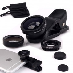 3-in-1 Fish Eye Lens / Wide Lens Universeel Zwart