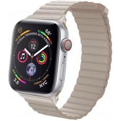 DrPhone Apple Watch 2/3/4 42/44mm Lederen Loop Armband met Magnetische Sluiting - Khaki