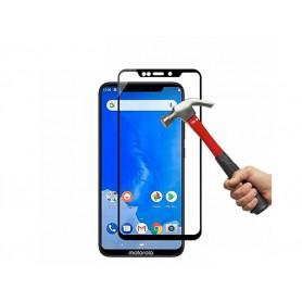 DrPhone Motorola One Tempered Glas 4D Volledige Glazen Dekking Full coverage 9H - Zwart