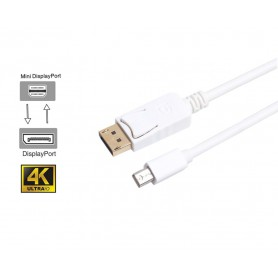 DrPhone - Mini DP naar DP Video Kabel - 1.8 Meter - Mini Display Port Kabel Thunderbolt Displayport voor o.a. Macbook - Wit