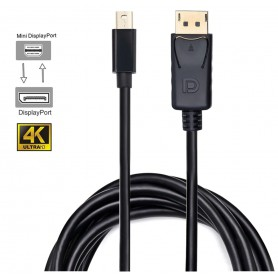 DrPhone - Mini DP naar DP Video Kabel V1.2 - 1.8 Meter - Mini Display Port Kabel Thunderbolt Displayport o.a. Macbook - Zwart