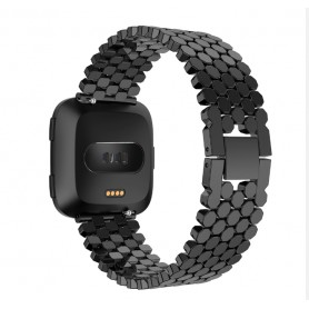 DrPhone Fitbit Versa Fashion Sport Horloge Band Armband Rvs Roestvrij Staal - Zwart