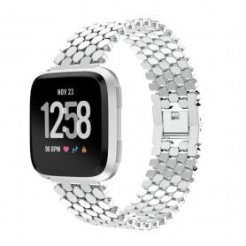 DrPhone Fitbit Versa /Versa 2/Lite/SE Fashion Sport Horloge Band Armband Rvs Roestvrij Staal - Zilver
