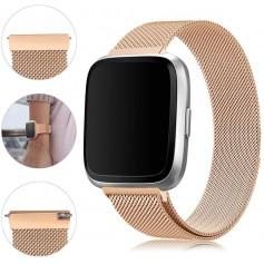 DrPhone Fitbit Versa /Versa 2/Lite/SE Magnetische Milanese Armband - RVS Horlogeband - Goud