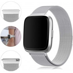 DrPhone Fitbit Versa /Versa 2/Lite/SE Magnetische Milanese Armband - RVS Horlogeband - Zilver