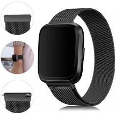 DrPhone Fitbit Versa /Versa 2/Lite/SE Magnetische Milanese Armband - RVS Horlogeband - Zwart