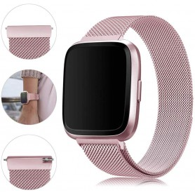 DrPhone Fitbit Versa /Versa 2/Lite/SE Magnetische Milanese Armband - RVS Horlogeband - Rosegold