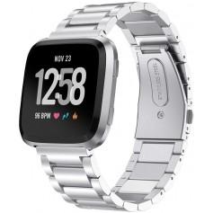 DrPhone Fitbit Versa /Versa 2/ LITE/ SE Roestvrij Metalen Stalen Armband - RVS - Zilver