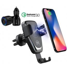 DrPhone Smart Sensor V3 - Draadloze Snel Oplader Autohouder- Ventilatie + Dashboard + DrPhone QC 3.0 Autolader