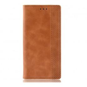 DrPhone PU Lederen Book Case voor Oneplus 7 Pro Magnetische Flip Cover – Bruin