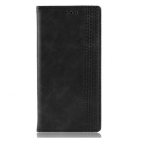 DrPhone PU Lederen Book Case voor Oneplus 7 Magnetische Flip Cover – Zwart