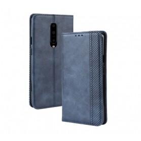 DrPhone PU Lederen Book Case voor Oneplus 7 Magnetische Flip Cover – Blauw