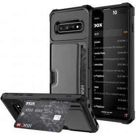 DrPhone Galaxy S10+Plus TPU Kaarhouder Armor Case met magnetische autohouder ondersteuning - Zwart