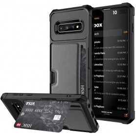 DrPhone Galaxy S10 TPU Kaarhouder Armor Case met magnetische autohouder ondersteuning - Zwart