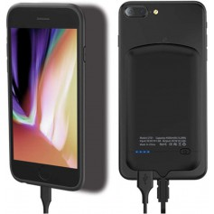 DrPhone iPhone Lightning Smart Power Bank - Batterijhouder 4000 mAh met Nano adsorptie Gel Pad - Zwart
