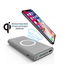 DrPhone PB2 Draagbare 10000mAh Powerbank Qi Draadloze oplader – Charge-Recharge - Grijs