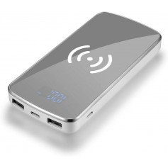 DrPhone PB3 Draadloze Qi Oplader + Mirror Power Bank 30000 mah met 2 USB poorten & Digitale Display - Wit