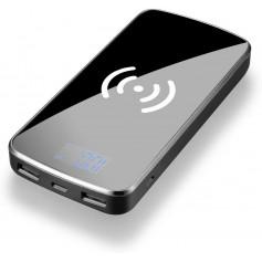 DrPhone PB3 Draadloze Qi Oplader + Mirror Power Bank 10000 mah met 2 USB poorten & Digitale Display - Zwart
