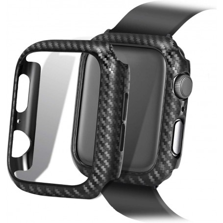 DrPhone Apple Watch 4/5 44 mm Carbon Fiber Textuur Bumper Hard PC Case