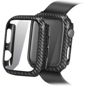 DrPhone Apple Watch 4/5 40mm Carbon Fiber Textuur Bumper Hard PC Case
