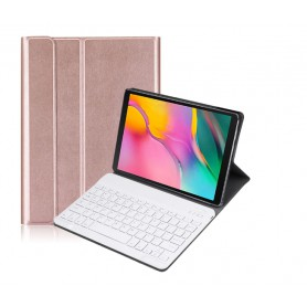 DrPhone Galaxy Tab S5E 10.5 2019 Draadloze Bluetooth Toetsenbord Ultra Slim PU lederen Cover – Rosegold