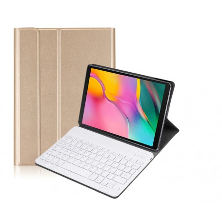 DrPhone Galaxy Tab S5E 10.5 2019 Draadloze Bluetooth Toetsenbord Ultra Slim PU lederen Cover – Goud