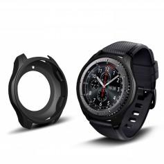 DrPhone Samsung Galaxy Watch 46mm/Gear S3 Hoesje - Hoogkwaliteit Siliconen - Schokbestendig - Beschermhoes - Zwart