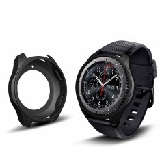 DrPhone Samsung Galaxy Watch 42mm Hoesje - Hoogkwaliteit Siliconen - Schokbestendig - Beschermhoes - Zwart