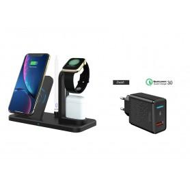 DrPhone ALLIN1 - Oplader Qi 3 in 1 Houder Stand Dock Voor Apple Watch / Airpods en iPhone