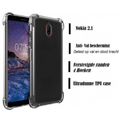 DrPhone Nokia 2.1 TPU Hoesje - Siliconen Shock Bumper Case -Backcover met Verstevigde randen voor extra bescherming voor