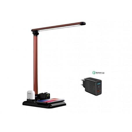 DrPhone - 4 IN 1 USB Wireless Oplader + Dock voor Apple Watch Airpods iPhone + Bureau LED Lamp - Zwart