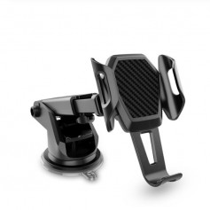 DrPhone Triangle Telefoonhouder - Telescopisch Arm – Dashboard/Voorruit- Sterke Zuignap – 360 Graden - Zwart