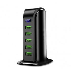 DrPhone 5 Poorten Laadstation USB HUB met Digitale LED Display - Zwart
