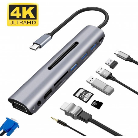 DrPhone 9 in 1 USB-C Hub met VGA - PD Power Delivery - 4K HDMI - 3 USB 3.0 - SD / TF-kaartlezer & Audiopoort