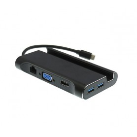 DrPhone Type-C 7 in 1 HuB met standaard Docking– HDMI/VGA /RJ45 1000Mbps /PD /3x USB 3.0 - Zwart
