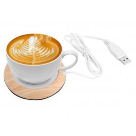 DrPhone HeatPro Cup - Originele USB Houten Kop Warmer - 5V Kopjeswarmer - Houdt Koffie, Thee en Babyfles Warm