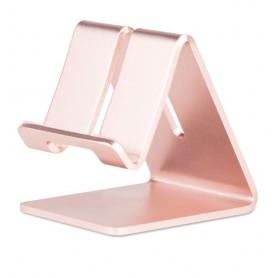 DrPhone SH1 Universele Smartphone/Tablet Standhouder – Aluminium – Brede haken - metalen beugel - Rosegold