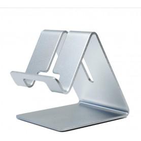 DrPhone SH1 Universele Smartphone/Tablet Standhouder – Aluminium – Brede haken - metalen beugel - Zilver