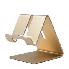 DrPhone SH1 Universele Smartphone/Tablet Standhouder – Aluminium – Brede haken - metalen beugel - Goud