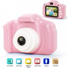DrPhone Digitale Kinder Camera voor kinderen -1080P FHD met 2 inch IPS-scherm en 8 GB SD-kaart voor 3-10 jaar – Roze