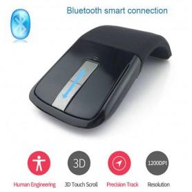 DrPhone ARC2 Bluetooth Touch Flexibele Foldable Draadloze Muis – 1200 DPI + Inclusief batterijen – Zwart