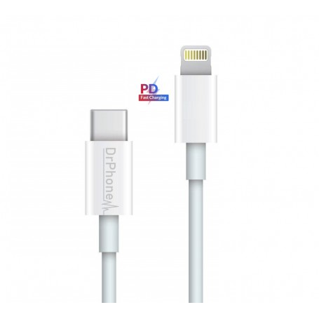 DrPhone LUNAR - USB-C Naar Lightning Kabel - Fast Charge 9V - 50% Sneller Laden - iPad Pro / iPhone 11 / 11 Pro / Max XS