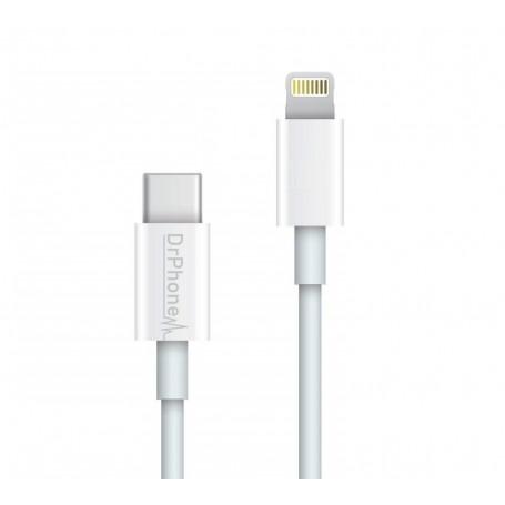 DrPhone LUNAR2 - USB-C Naar Lightning Kabel - 5V - 20% Sneller Laden - iPad Pro / iPhone 11 / 11 Pro / XS Max / XS
