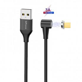 DrPhone Pro Series - Magnetische 90 graden Haakse Micro USB oplaadkabel - 3A MAX – Sterke N52 Magneet - 2 Meter - Zwart