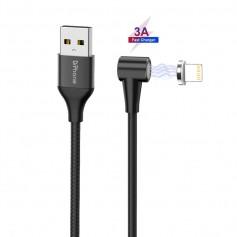 DrPhone Pro Series - Magnetische 90° Lightning oplaadkabel Voor Apple iPhone / iPad / iPod - 3A MAX – 2 Meter Zwart