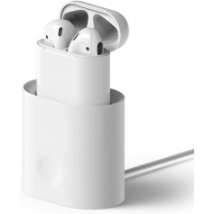 DrPhone AirPods 1/2 Zachte Siliconen Standhouder - Mini Draagbare Bureau Oplaadstation - Wit