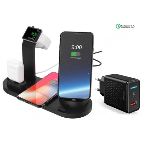 DrPhone Ultimate 5 in 1 Oplaadstation - Qi Draadloos – Type-c/Micro usb/Lightning & AirPods - Apple Watch Standhouder – Zwart