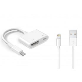 DrPhone 2 in 1 - Lightning Digital AV Adapter - HDMI naar lightning kabel - iPhone 11 / XS / Max / XR / iPhone 7 / 8 / iPad