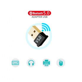 DrPhone B5 - Bluetooth 5.0 USB Adapter Dongle - 20 Meter Bereik - Stabielere verbinding - Zwart